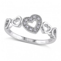 Open Heart Band w/ Pave Set Diamond Accents in Sterling Silver 0.03ct