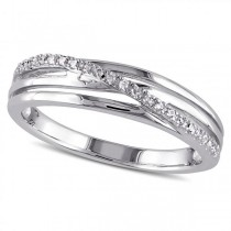 Twisted Band with Diamond Accent Row in Sterling Silver with 0.06ct