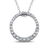 Prong Set Diamond Circle Pendant Necklace in Sterling Silver 0.33ct