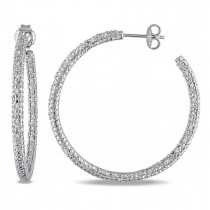 Pave Set Round White Diamond Hoop Earrings in Sterling Silver 0.50ct