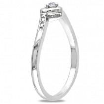 Petite Heart Promise Ring with a Diamond Sterling Silver 0.03ct