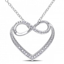 Diamond Accented Heart Pendant w/ Infinity Loop Sterling Silver 0.06ct