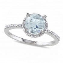 Diamond & Round Aquamarine Fashion Ring Sterling Silver (1.19ct)
