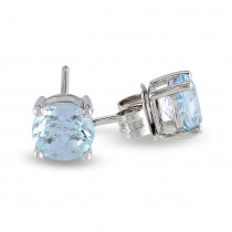 Blue Topaz Solitaire Stud Earrings Sterling Silver (2.00ct)