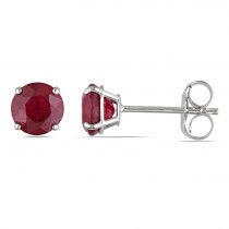Red Ruby Ear Pin Stud Earrings 14k White Gold (1.10ct)