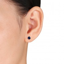 Round Blue Sapphire Ear Pin Stud Earrings 14k White Gold (1.20ct)