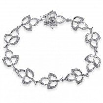Diamond Accented Floral Bracelet 14k White Gold (0.54ct)