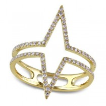 Diamond Accented Dual Triangle Design Ring 14k Yellow Gold (0.25ct)