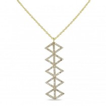 Diamond Accented Drop Pendant Necklace 14k Yellow Gold (0.42ct)