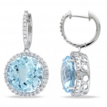 Diamond Accented Blue Topaz Drop Sky Earrings 14k White Gold (15.00ct)