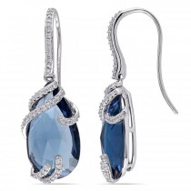 Diamond & Pear London Blue Topaz Earrings in 14k White Gold (15.27ct)
