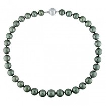 Black Tahitian Pearl Strand Necklace 14k White Gold (10-13mm 0.06ct)