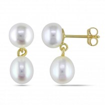 Double Freshwater Pearl Drop Earrings 14k Yellow Gold 5.5-6mm