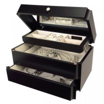 Wooden Jewelry Box Java Finish w/ Mirror, Ring Roll, Auto Tray/Drawer