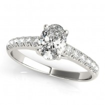 Oval Cut Diamond Engagement Ring 18K White Gold (0.39ct)