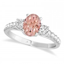 Oval Cut Morganite & Diamond Engagement Ring 14k White Gold (1.40ct)