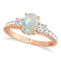 Oval Cut Opal & Diamond Engagement Ring 14k Rose Gold (1.40ct)