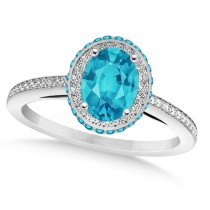 Oval Blue & White Diamond Halo Engagement Ring 14k White Gold (1.71ct)