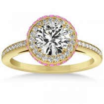 Diamond Halo Engagement Ring Pink Sapphire Accents 14k Y. Gold 0.50ct