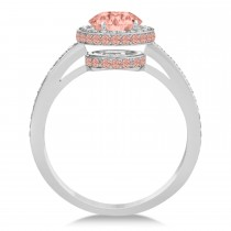 Oval Morganite & Diamond Halo Engagement Ring 14k White Gold (2.30ct)