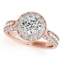 Vintage Milgrain Round Diamond Engagement Ring 18k Rose Gold (1.75ct)