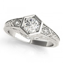 Diamond Antique Style Six Prong Engagement Ring Palladium (0.37ct)