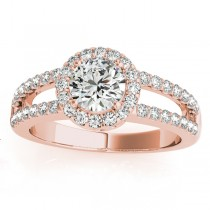 Split Shank Halo Diamond Engagement Ring Setting 14k Rose Gold 0.60ct