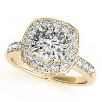 Cushion Cut Halo Diamond Engagement Ring 14k Yellow Gold (1.34ct)