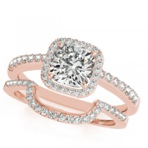 Cushion Cut Square Shape Diamond Halo Bridal Set 18k Rose Gold (0.67ct)