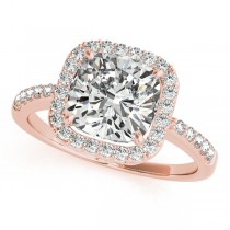 Cushion Cut Diamond Halo Engagement Ring 14k Rose Gold (1.50ct)