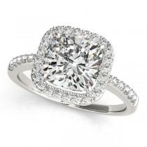Cushion Cut Diamond Halo Engagement Ring Palladium (1.50ct)