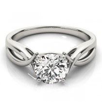 Solitaire Bypass Diamond Engagement Ring 14k White Gold (1.25ct)