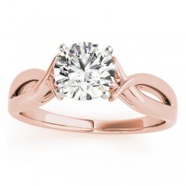 Solitaire Bypass Engagement Ring Setting 18k Rose Gold
