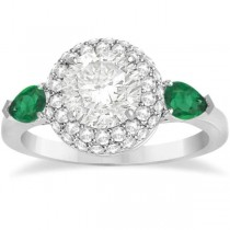 Pear Cut Emerald & Diamond Engagement Ring Setting 14k W. Gold 0.75ct