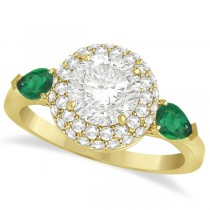 Pear Emerald & Round Diamond Halo Engagement Ring 14k Y Gold (1.70ct)