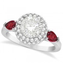 Pear Shape Ruby & Round Diamond Halo Engagement Ring 14k W Gold 1.70ct