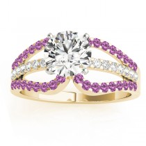 Diamond and Pink Sapphire Triple Row Engagement Ring 14k Yellow Gold (0.52ct)