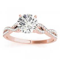 Diamond Swirl Sidestone Accented Engagement Ring Setting 18k Rose Gold (0.22ct)