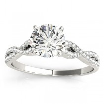 Diamond Swirl Sidestone Accented Engagement Ring Setting 18k White Gold (0.22ct)