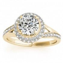 Diamond Split Shank Halo Engagement Ring 18k Yellow Gold (0.45ct)
