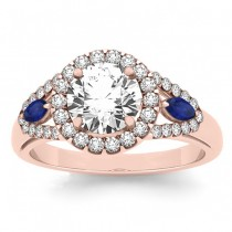Diamond & Marquise Blue Sapphire Engagement Ring 14k Rose Gold (1.59ct)