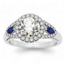 Diamond & Marquise Blue Sapphire Engagement Ring 14k White Gold (0.59ct)