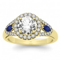 Diamond & Marquise Blue Sapphire Engagement Ring 18k Yellow Gold (0.59ct)