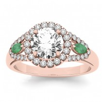 Diamond & Marquise Emerald Engagement Ring 18k Rose Gold (1.59ct)