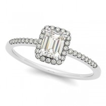 Emerald Cut Diamond Halo Engagement Ring w/ Accents 14k W. Gold 0.63ct