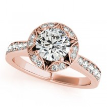 Diamond Star Engagement Ring with Accents in 14k Rose Gold 1.40ct