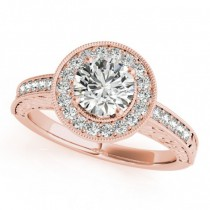 Diamond Halo Antique Style Design Engagement Ring 14k Rose Gold (1.08ct)