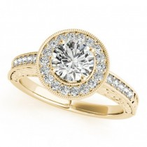 Diamond Halo Antique Style Design Engagement Ring 14k Yellow Gold (1.08ct)
