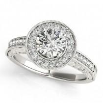 Diamond Halo Antique Style Design Engagement Ring Palladium (1.08ct)