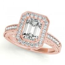 Antique Emerald Cut Diamond Engagement Ring 18k Rose Gold (1.80ct)